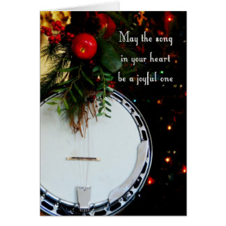 Merry Christmas Joyful Song Holiday Banjo Greeting Card