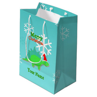 Merry Christmas Kawaii Dinosaur Medium Gift Bag