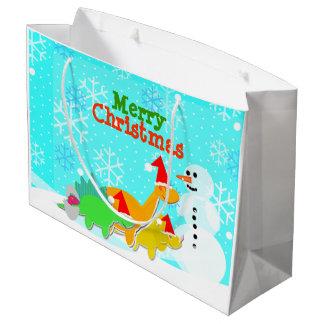 Merry Christmas Kawaii Dinosaurs Snowman Large Gift Bag