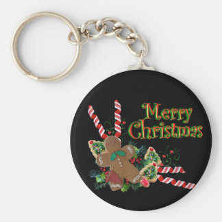 Merry Christmas Keychain with gingerbread man