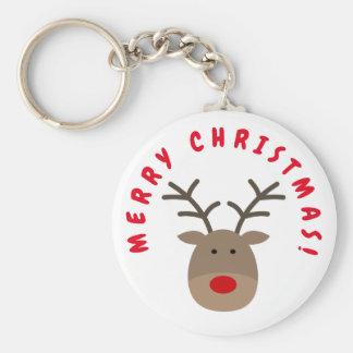 Merry Christmas keychain with Rudolf the reindeer