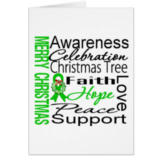 Merry Christmas Kidney Cancer Ribbon Collage Greeting Card