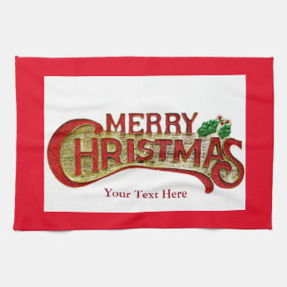 Merry Christmas Kitchen Towel with Holly