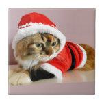 Merry Christmas kitty cat Santa suit Ceramic Tile