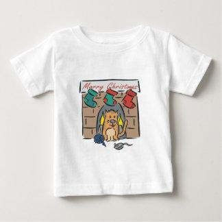 Merry Christmas Kitty Stockings Baby T-Shirt
