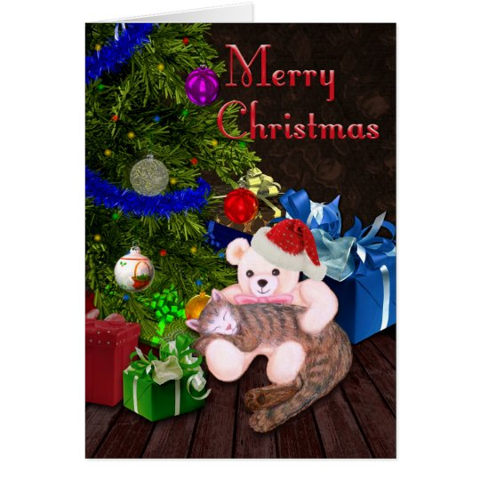 Merry Christmas Kitty, Teddy, & Christmas Tree Card
