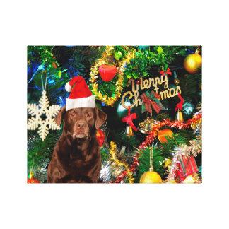 Merry Christmas Labrador Retriever Dog Santa Hat Gallery Wrapped Canvas