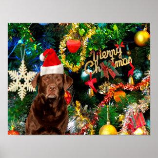 Merry Christmas Labrador Retriever Dog Santa Hat Poster