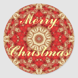 Merry Christmas Lace Envelope Seals Round Sticker