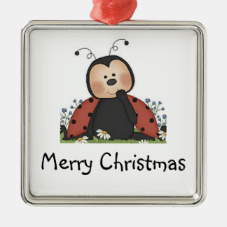 Merry Christmas Ladybug Silver-Colored Square Decoration