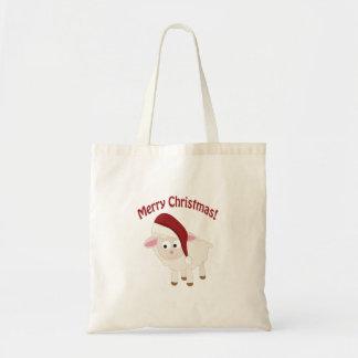 Merry Christmas Lamb Budget Tote Bag