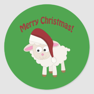 Merry Christmas Lamb Classic Round Sticker