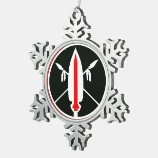 Merry Christmas Lance Missile Snowflake Pewter Christmas Ornament