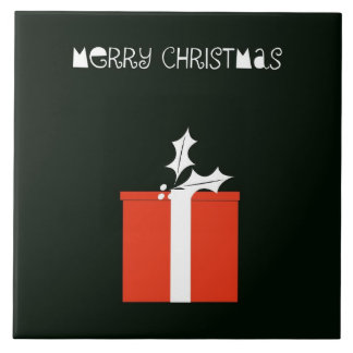 Merry Christmas Large Square Tile