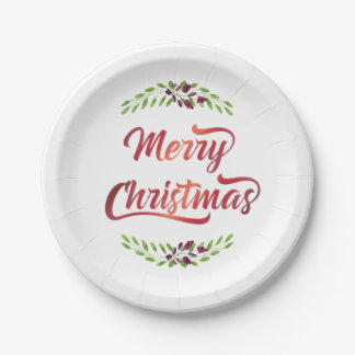 Merry Christmas Laurels Red ID293 7 Inch Paper Plate