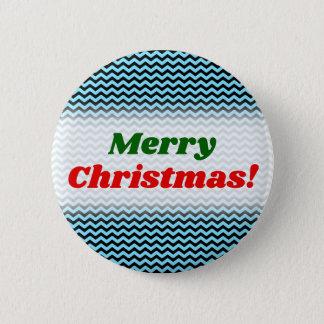 Merry Christmas! + Light Blue & Black Wave Pattern 6 Cm Round Badge