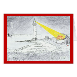 Merry Christmas lighthouse drawing Card