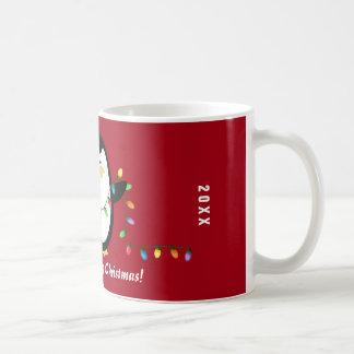 Merry Christmas Lights Penguin Mug