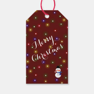 Merry Christmas lights-  Snowman /Burgudy  Design Gift Tags