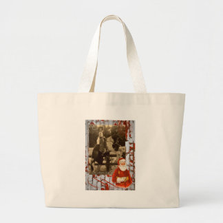Merry Christmas Little Vintage Cowgirl Horse Jumbo Tote Bag