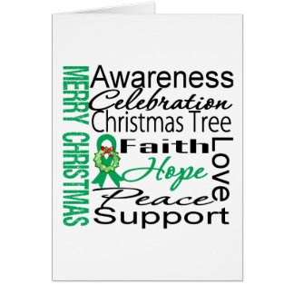 Merry Christmas Liver Cancer Ribbon Collage Greeting Card