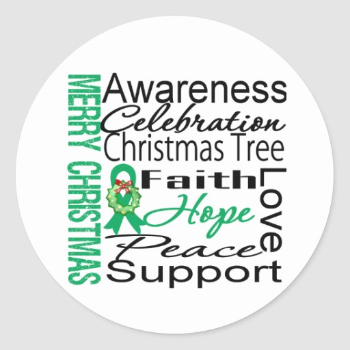 Merry Christmas Liver Cancer Ribbon Collage Round Sticker