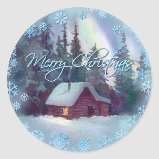 MERRY CHRISTMAS LOG CABIN by SHARON SHARPE Round Sticker