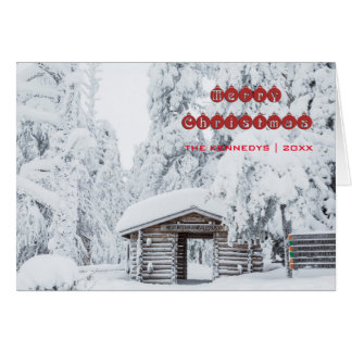Merry Christmas - Log cabin entrance in Finland Card