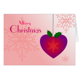 Merry Christmas Love. Heart and snowflakes Card