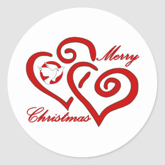 Merry Christmas Love & Peace Round Stickers