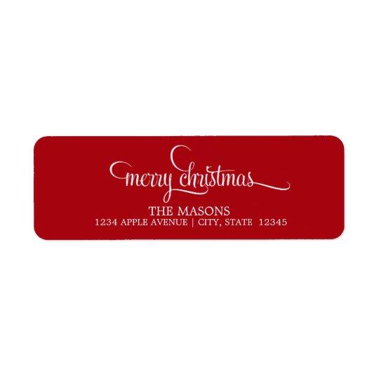 Merry Christmas Lowercase Script   Red Return Address Label
