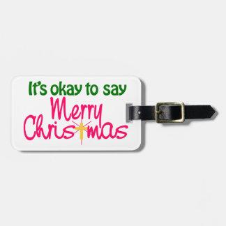 Merry Christmas Travel Bag Tag