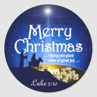Merry Christmas Luke 2:10 Great Joy Jesus Sticker