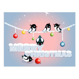 Merry Christmas - Magpies Bubbles Snow Postcard