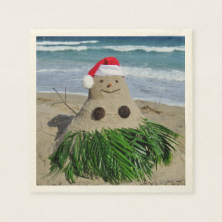 Merry Christmas Mele Kalikimaka Sandman Snowman Disposable Serviette