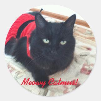 Merry Christmas - Meowy Catmus! featuring Smoky Round Sticker