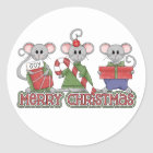 Merry Christmas Mice Classic Round Sticker