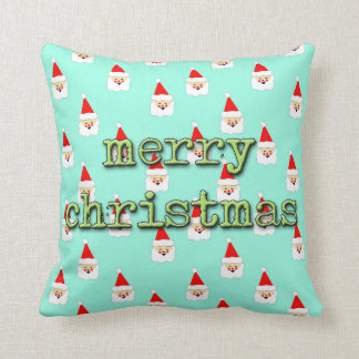 merry christmas mid century modern santa claus throw pillow
