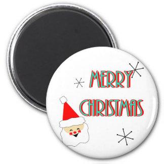 merry christmas mid century santa claus magnet