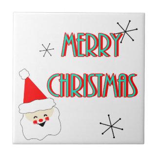 merry christmas mid century santa claus tile