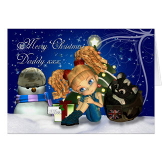 Merry Christmas Military Daddy UK Greeting Card