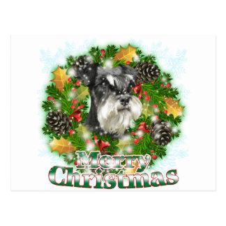 Merry Christmas Miniature Schnauser Postcard