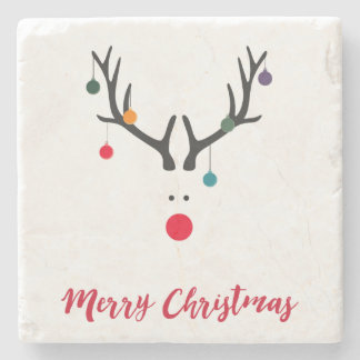 Merry Christmas minimalist modern reindeer Stone Coaster