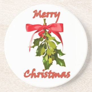 merry christmas mistletoe coaster