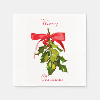 merry christmas mistletoe disposable napkin