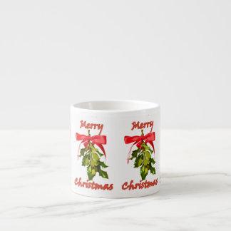 merry christmas mistletoe espresso cup
