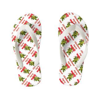 merry christmas mistletoe kid's flip flops