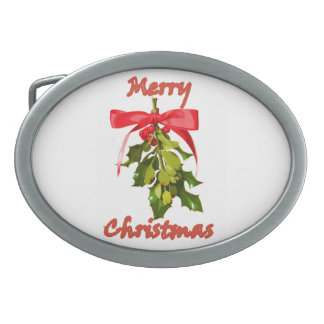 merry christmas mistletoe oval belt buckles
