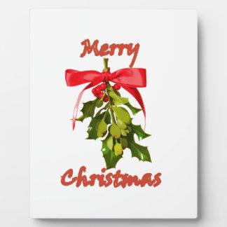 merry christmas mistletoe plaque