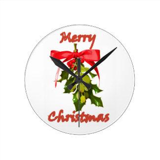 merry christmas mistletoe round clock